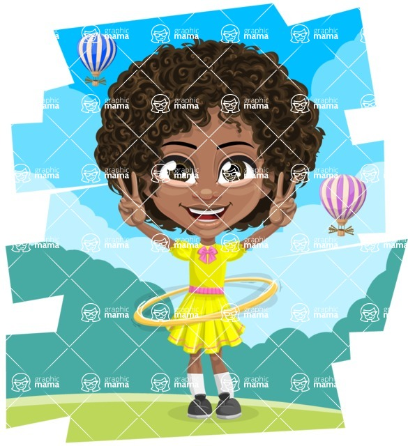 Cute Curly African American Girl Cartoon Vector Character AKA Alana - Shape 11