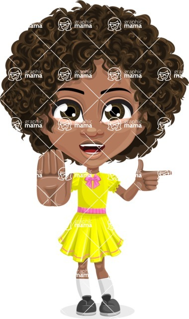 Cute Curly African American Girl Cartoon Vector Character AKA Alana - Direct Attention 2