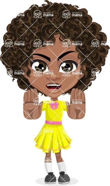 Cute Curly African American Girl Cartoon Vector Character AKA Alana - Stop