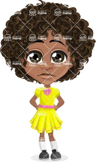 Cute Curly African American Girl Cartoon Vector Character AKA Alana - Sad