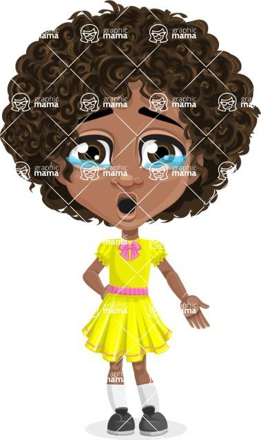 Cute Curly African American Girl Cartoon Vector Character AKA Alana - Sad 2