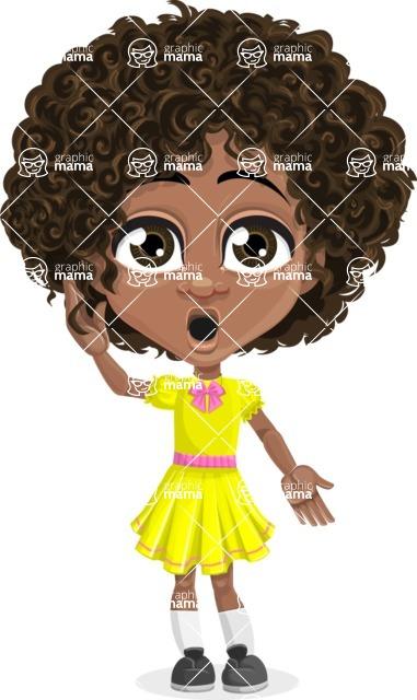 Cute Curly African American Girl Cartoon Vector Character AKA Alana - Shocked