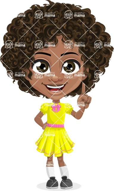 Cute Curly African American Girl Cartoon Vector Character AKA Alana - Attention