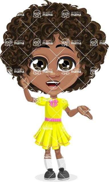 Cute Curly African American Girl Cartoon Vector Character AKA Alana - Lost 2