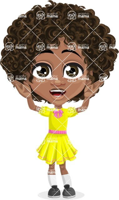Cute Curly African American Girl Cartoon Vector Character AKA Alana - Confused
