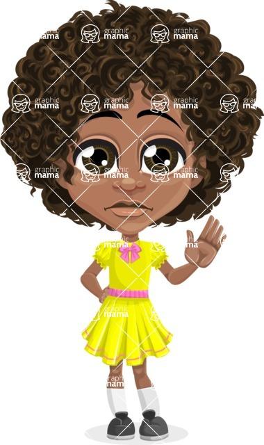 Cute Curly African American Girl Cartoon Vector Character AKA Alana - Goodbye