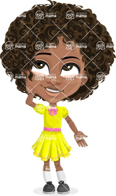 Cute Curly African American Girl Cartoon Vector Character AKA Alana - Oops