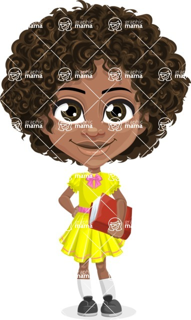 Cute Curly African American Girl Cartoon Vector Character AKA Alana - Patient
