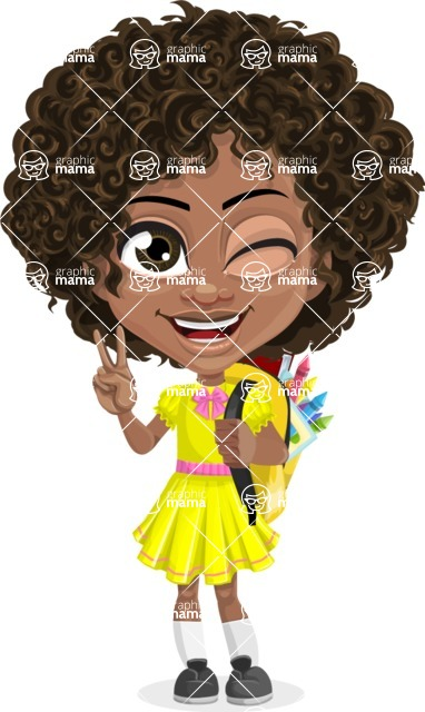 Cute Curly African American Girl Cartoon Vector Character AKA Alana - Backpack