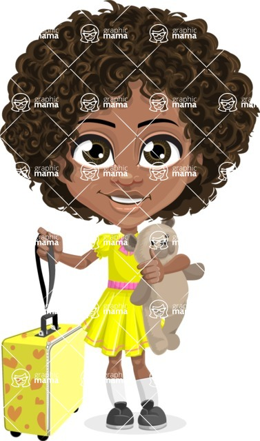 Cute Curly African American Girl Cartoon Vector Character AKA Alana - Travel
