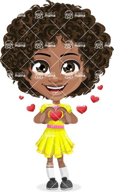 Cute Curly African American Girl Cartoon Vector Character AKA Alana - Show Love