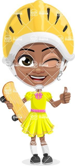 Cute Curly African American Girl Cartoon Vector Character AKA Alana - Sketeboard