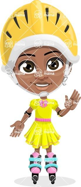 Cute Curly African American Girl Cartoon Vector Character AKA Alana - Blades