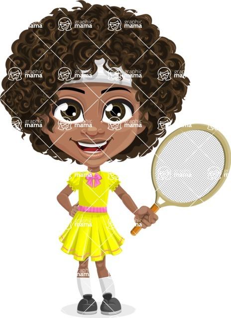 Cute Curly African American Girl Cartoon Vector Character AKA Alana - Tennis