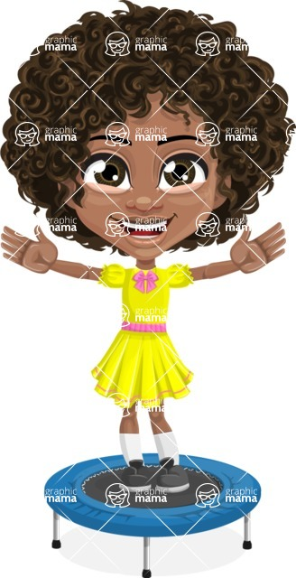 Cute Curly African American Girl Cartoon Vector Character AKA Alana - Trampoline