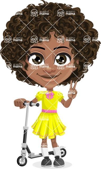 Cute Curly African American Girl Cartoon Vector Character AKA Alana - Scooter