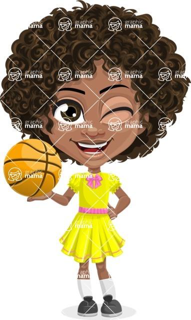 Cute Curly African American Girl Cartoon Vector Character AKA Alana - Basketball