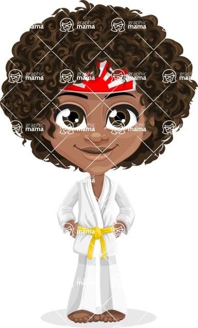 Cute Curly African American Girl Cartoon Vector Character AKA Alana - Karate