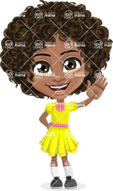 Cute Curly African American Girl Cartoon Vector Character AKA Alana - Wave