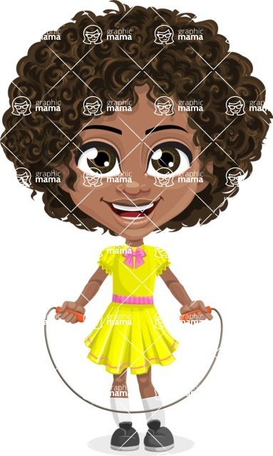 Cute Curly African American Girl Cartoon Vector Character AKA Alana - Skipping Rope