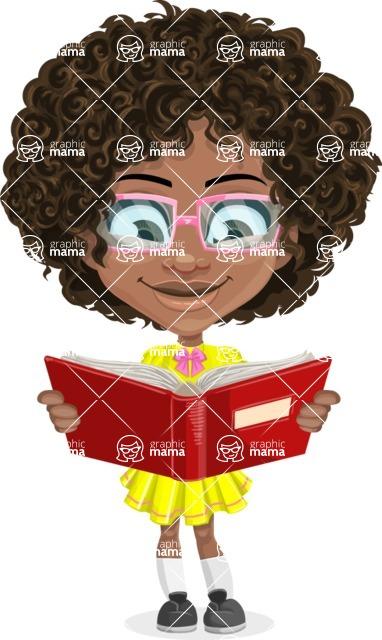 Cute Curly African American Girl Cartoon Vector Character AKA Alana - Book 1