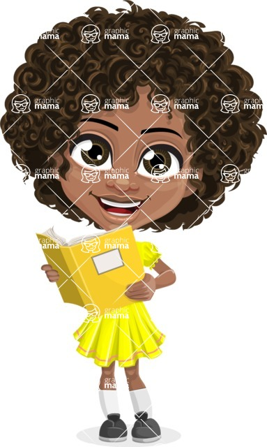 Cute Curly African American Girl Cartoon Vector Character AKA Alana - Book 2
