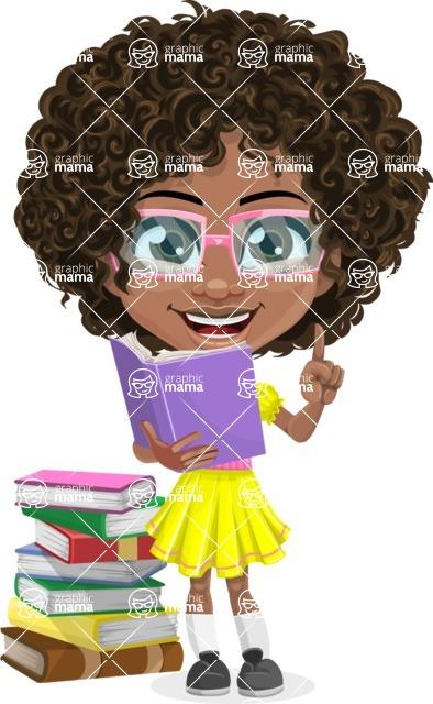 Cute Curly African American Girl Cartoon Vector Character AKA Alana - Book