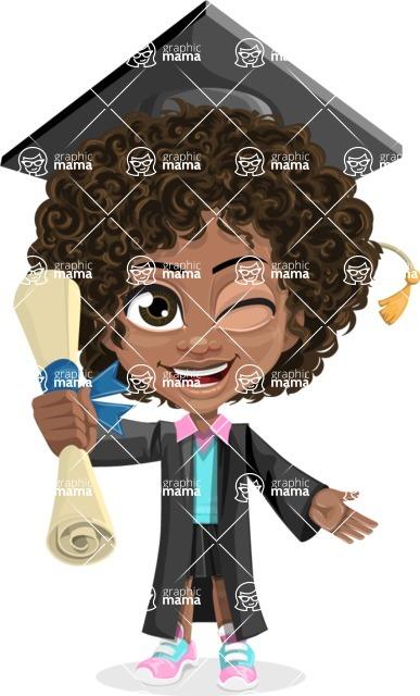 Cute Curly African American Girl Cartoon Vector Character AKA Alana - Graduate