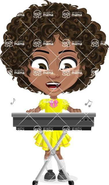 Cute Curly African American Girl Cartoon Vector Character AKA Alana - Music 1