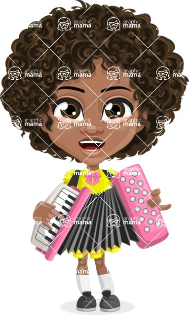 Cute Curly African American Girl Cartoon Vector Character AKA Alana - Music 2