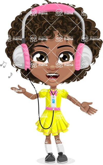 Cute Curly African American Girl Cartoon Vector Character AKA Alana - Music 3