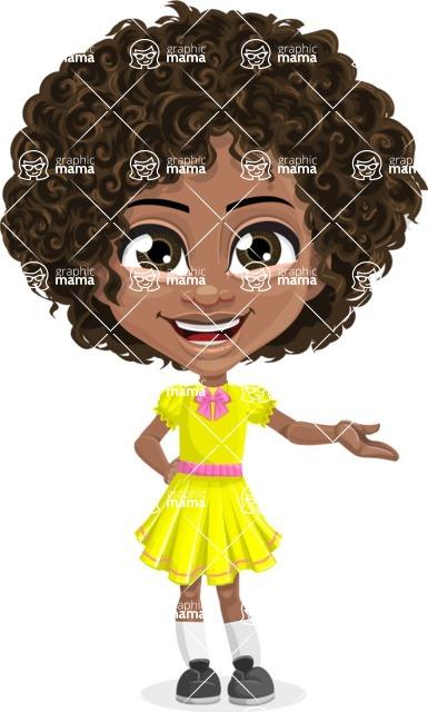Cute Curly African American Girl Cartoon Vector Character AKA Alana - Showcase 1