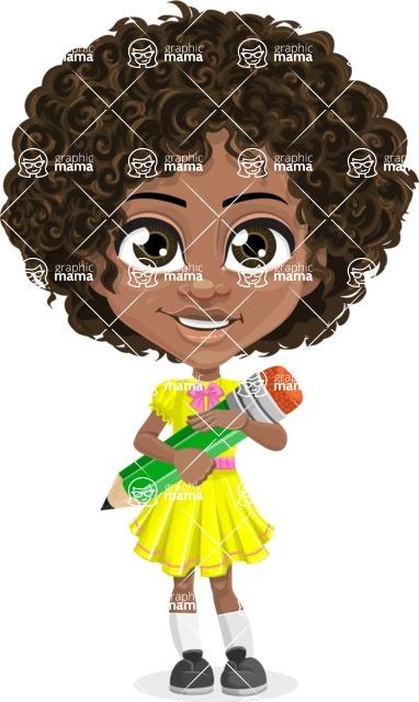 Cute Curly African American Girl Cartoon Vector Character AKA Alana - Pencil