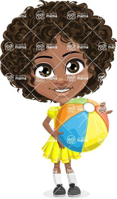 Cute Curly African American Girl Cartoon Vector Character AKA Alana - Beach 1