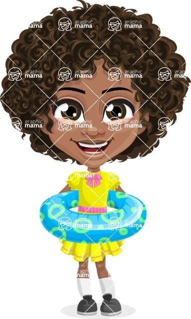 Cute Curly African American Girl Cartoon Vector Character AKA Alana - Beach 2
