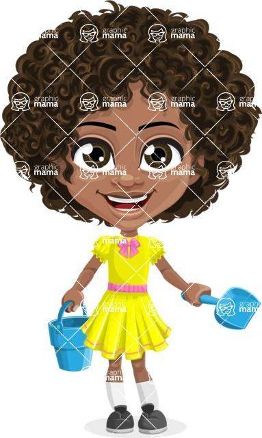 Cute Curly African American Girl Cartoon Vector Character AKA Alana - Beach 3