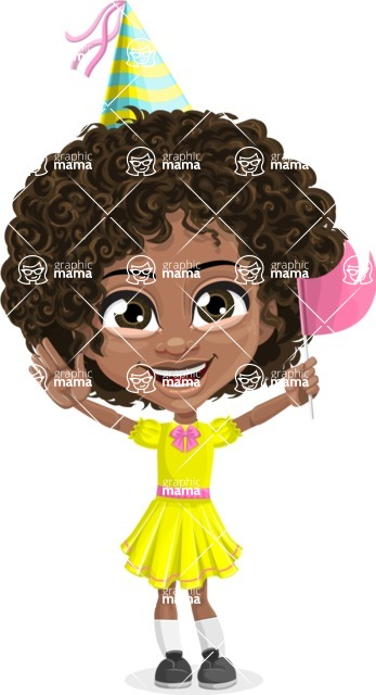 Cute Curly African American Girl Cartoon Vector Character AKA Alana - Party 1
