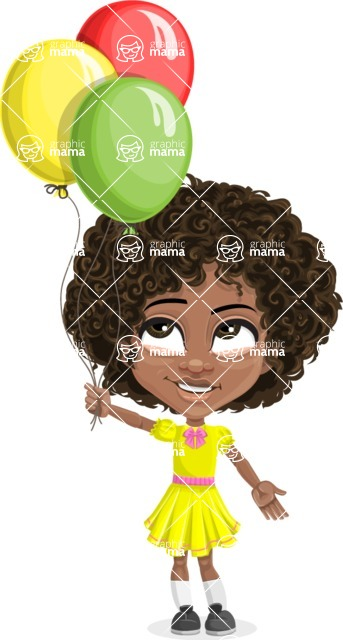 Cute Curly African American Girl Cartoon Vector Character AKA Alana - Party 3