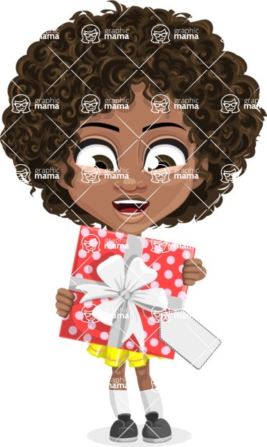 Cute Curly African American Girl Cartoon Vector Character AKA Alana - Gift