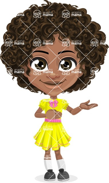 Cute Curly African American Girl Cartoon Vector Character AKA Alana - Showcase 2