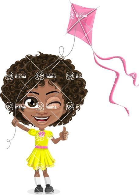 Cute Curly African American Girl Cartoon Vector Character AKA Alana - Kite