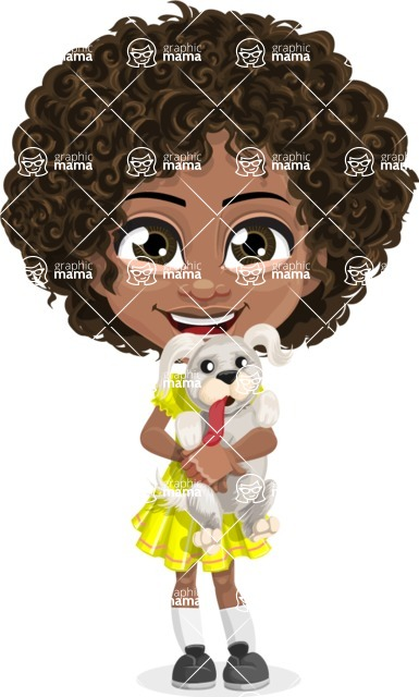 Cute Curly African American Girl Cartoon Vector Character AKA Alana - Puppy