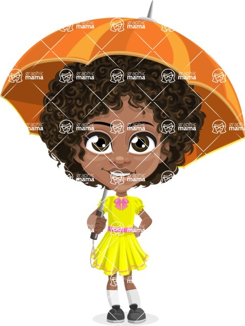 Cute Curly African American Girl Cartoon Vector Character AKA Alana - Umbrella