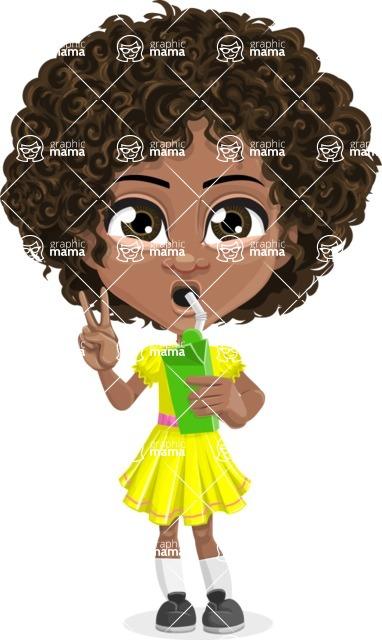 Cute Curly African American Girl Cartoon Vector Character AKA Alana - Shake