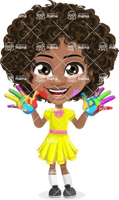 Cute Curly African American Girl Cartoon Vector Character AKA Alana - Fingerpainting