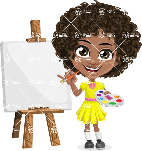 Cute Curly African American Girl Cartoon Vector Character AKA Alana - Painting