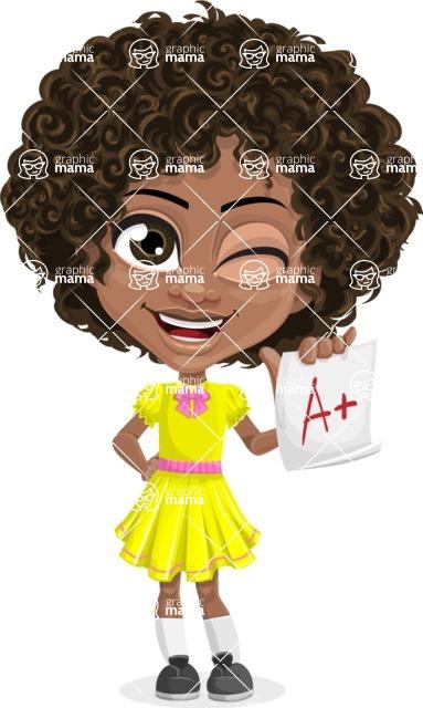 Cute Curly African American Girl Cartoon Vector Character AKA Alana - Score