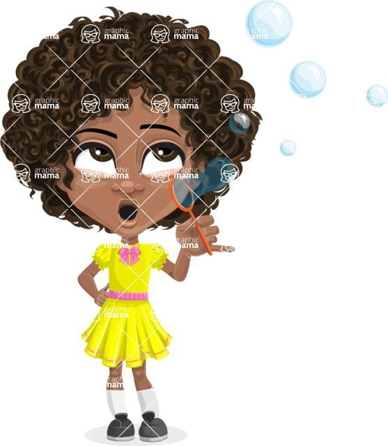 Cute Curly African American Girl Cartoon Vector Character AKA Alana - Soap Bubbles