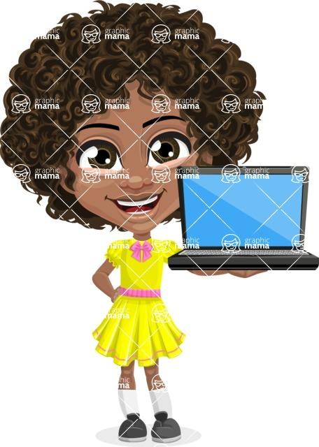 Cute Curly African American Girl Cartoon Vector Character AKA Alana - Laptop 2