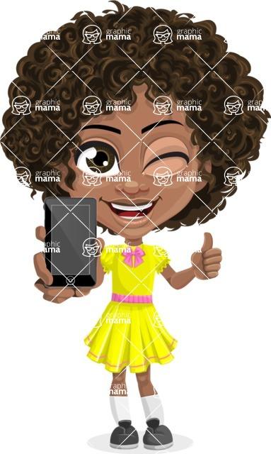 Cute Curly African American Girl Cartoon Vector Character AKA Alana - Smartphone